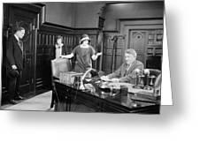 Silent Film Still: Offices Greeting Card