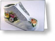 1708 Baby Shoe With  Roses Greeting Card by Wilma Manhardt