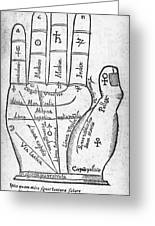 17th Century Palmistry Diagram Greeting Card by Middle Temple Library