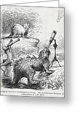 1861 Punch Dinosaurs & Comet Cartoon Greeting Card