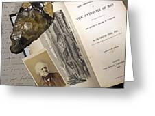 1863 Lyell's Antiquity Of Man Desktop. Greeting Card