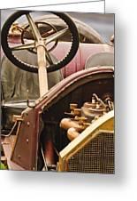 1914 Mercer Model 35 J Raceabout Engine And Steering Wheel Greeting Card
