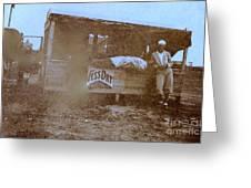 1920s Sepia Farm Stand Greeting Card by Debbie Wassmann