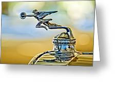1929 Packard Hood Ornament Greeting Card