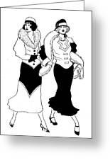 1930s Deco Ladies Greeting Card