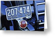 1932 Ford Model 18 Roadster Hotrod Taillight Greeting Card