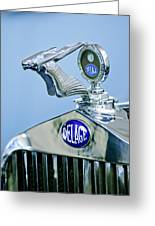 1933 Delage D8s Coupe Hood Ornament Greeting Card by Jill Reger