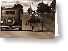 1934 Chevy And Today's Horse And Buggy By Randall Branham Greeting Card