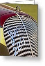 1938 Steyr 220 Glaser Roadster Grille Emblem Greeting Card