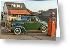 1942 Gulf Service Station With Antique Car Greeting Card