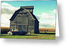 1950 Cadillac Barn Cornfield Greeting Card