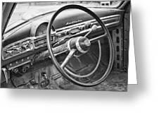 1951 Nash Ambassador Interior Bw Greeting Card