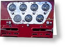 1952 L Model Mack Pumper Fire Truck Controls Greeting Card