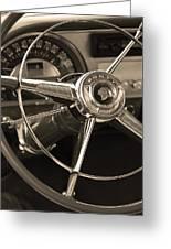 1953 Pontiac Steering Wheel - Sepia Greeting Card