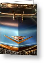 1956 Cadillac Eldorado Biarritz Convertible Hood Ornament And Emblem Greeting Card