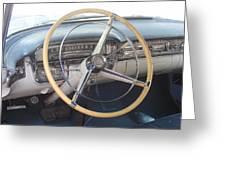 1956 Cadillac Steering Wheel And Dash Greeting Card