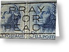 1962 Pray For Peace Stamp Collage Greeting Card