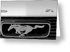 1966 Mustang Logo Bw Greeting Card