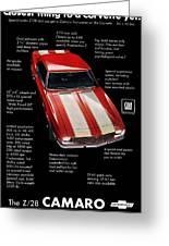 1968 Chevrolet Z/28 Camaro  Greeting Card