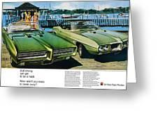 1969 Pontiac Gto And Firebird Greeting Card