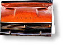 1971 Dodge Challenger - Orange Mopar Typography - Mp002 Greeting Card