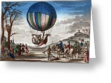 1st Manned Hydrogen Balloon Flight, 1783 Greeting Card