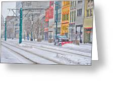 1st Real Snowfall Plow 2012 Greeting Card