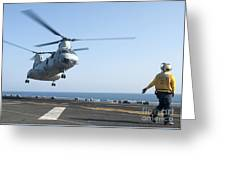 A Ch-46e Sea Knight Helicopter Prepares Greeting Card