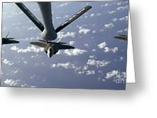 A Three Ship Formation Of F-22 Raptors Greeting Card by Stocktrek Images