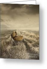 Abandoned Antique Baby Carriage In Field Greeting Card