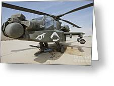 An Ah-64d Apache Helicopter At Cob Greeting Card