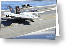 An Fa-18e Super Hornet Lands Aboard Greeting Card