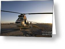 An Iraqi Helicopter Sits On The Flight Greeting Card