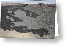 Basaltic Lava Flow From Pit Crater Greeting Card