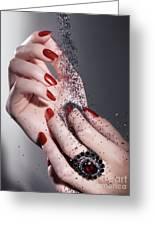 Black Sand Falling On Woman Hands Greeting Card by Oleksiy Maksymenko