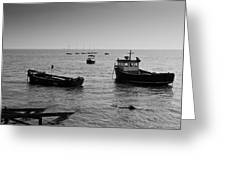 Boats Moored Off Of Leigh Essex Greeting Card