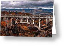 Bridge Over Autumn Greeting Card