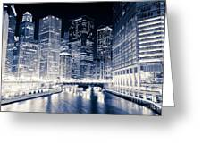Chicago River Buildings At Night Greeting Card