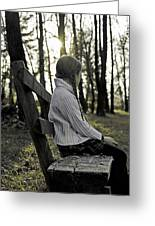 Girl Sitting On A Wooden Bench In The Forest Against The Light Greeting Card
