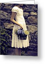 Girl With Flowers Greeting Card by Joana Kruse