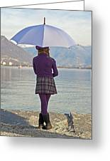Girl With Umbrella Greeting Card by Joana Kruse