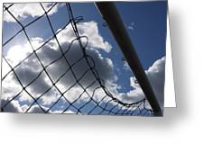 Goal Against Cloudy Sky. Greeting Card