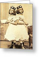 2 Headed Girl Millie-chrissie Greeting Card by Photo Researchers