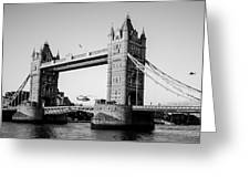 Helicopter At Tower Bridge Greeting Card