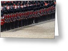 Irish Guards March Pass During The Last Greeting Card by Andrew Chittock