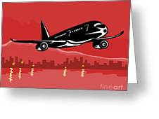 Jumbo Jet Plane Retro Greeting Card by Aloysius Patrimonio