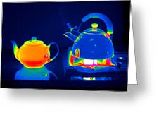 Kettle And Teapot, Thermogram Greeting Card