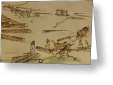 logging in the Pacific N.W. Greeting Card