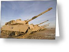 M1 Abrams Tanks At Camp Warhorse Greeting Card