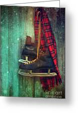 Old Ice Skates Hanging On Barn Wall Greeting Card by Sandra Cunningham